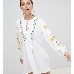 Boohoo Petite Embroidered Sleeve smock dress
